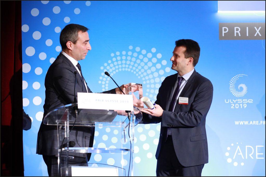 Remise du Prix Ulysse 2019 Remise du Prix Olivier Marion Président ARE Sebatien GAuthier, PDG Carbone Savoie