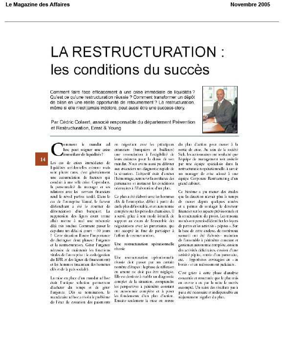 13 décembre MDA Restructuring